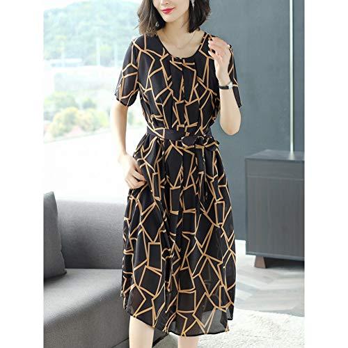 BINGQZ Cocktailjurken Dames zijden zomerjurk, zijden print, slanke mode temperament lange rok