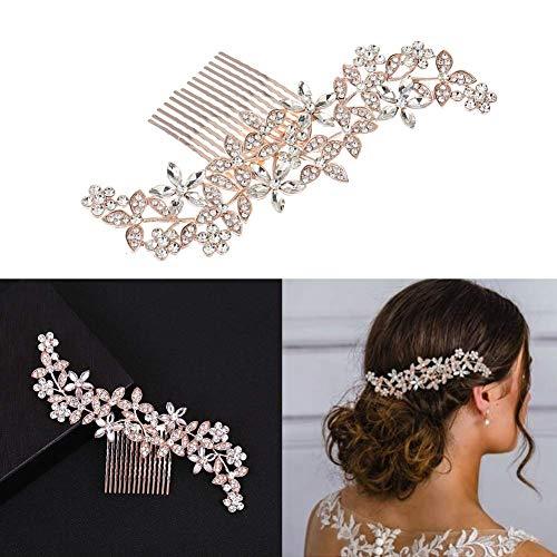 Dusenly Peines para el pelo con cristales de imitación para boda o novia,  estilo vintage,  accesorio de boda (oro rosa)