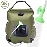 VIGLT Camping Shower Bag 5 Gallons/20L Portable Shower Bag Heating with Removable Hose and Shower Head for Camping Outdoor Traveling Hiking Summer Shower (Green Camping Shower Bag)