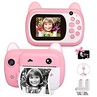 Kids Camera Instant Print Selfie Camera Girl Toys Gifts for 3 4 5 6 7 8 Years Old,Digital Zero Ink Video Camera with 3 Rolls Print Paper Child Camera,Lanyard,Dual Lens,1080P HD Video Recorder,1000 mAh by LByzHan
