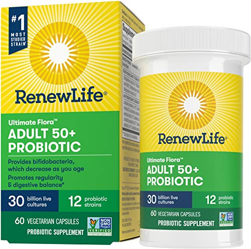 Renew Life Ultimate Flora Adult 50+ Probiotic, 30 Billion CFU, 60 Capsules; (Package May Vary)