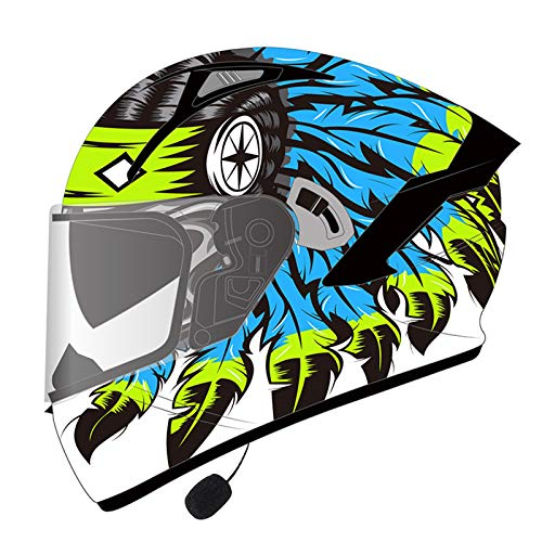 MOMOJA Casco De Motocicleta con Auricular Bluetooth Integrado, Casco Integral, Cerrado, con Aprobación ECE, Casco Antiniebla con Doble Espejo E,XXXL