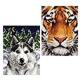 SM SunniMix 2 Unids Animal Latch Hook Kits De Alfombras Tiger & Wolf Latch Hook Cojín Alfombra Bordado Costura Crochet Almohadas Accesorios DIY