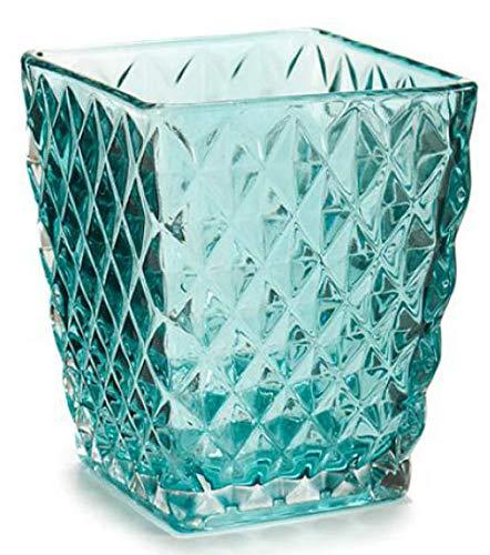 AR Portavelas Cristal 9x8 Cm, Azul Turquesa, 9x8Cm