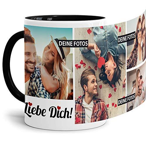 Tassendruck Fototasse mit Spruch - Ich Liebe Dich - zum Selbst gestalten personalisiert mit 4 Fotos, Innen & Henkel Schwarz, 300 ml