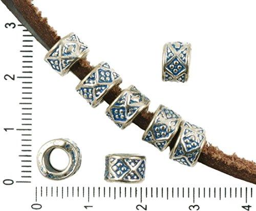 12pcs Antique Silver Tone Blue Patina Wash Large Hole Drum European Pandora Style Plaid Charms Beads Bohemian Metal Findings 8mm x 5mm