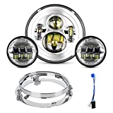 Motorcycle 7 inch LED Headlight Fog Passing Lights Ring Headlamp for Road King Ultra Classic Electra Street Glide Tri Cvo Heritage Softail Slim Deluxe Fatboy DOT Approved 2 Years Warranty, Silver
