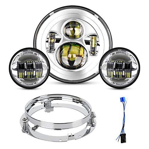 Motorcycle 7 inch LED Headlight Fog Passing Lights Ring Headlamp for Road King Ultra Classic Electra Street Glide Tri Cvo Heritage...