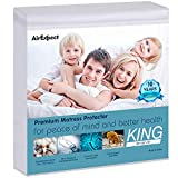 AirExpect Waterproof Mattress Protector King Size 100% Full Cotton Hypoallergenic Breathable Mattress Pad Cover,18'' Deep Pocket, No Vinyl, 76'' x 80''
