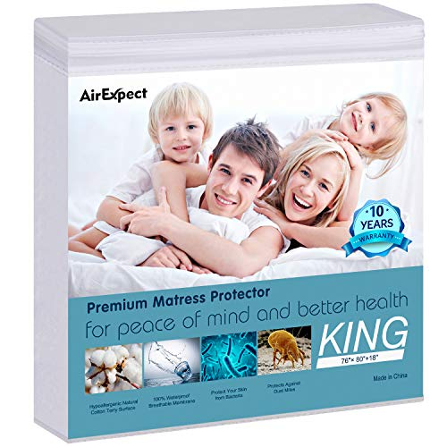 AirExpect Waterproof Mattress Protector King Size 100% Cotton Hypoallergenic Breathable Mattress Pad Cover, 18