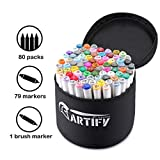 Artify Artist Alcohol Based Art Marker Set 80 Colors Dual Tipped Twin Marker...