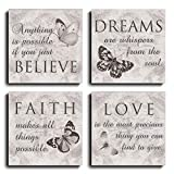 Black and White Butterfly Canvas Wall Art Motivational Inspirational Quotes Love Dream Faith Believe Bathroom Wall Decor Posters Picture Prints (12*12inch*4)