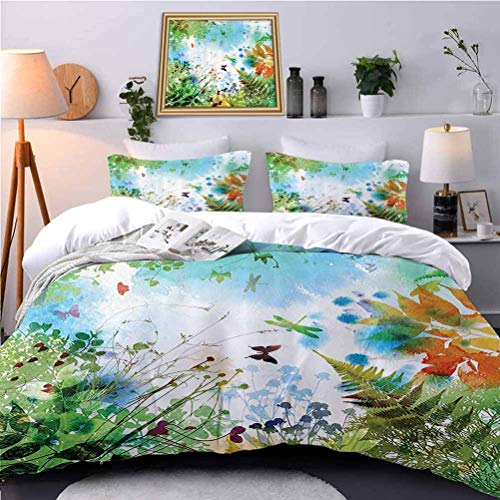 UNOSEKS LANZON Bedding Duvet Cover Set Ferns and Petals Flourishing Nature ntasy Complex Mixed Digital Watercolors Soft Bedding Cover Soft Touched but Strength and Durable - Twin Size