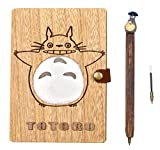 Handmade Totoro Wooden Cover Notebook Journal Diary Travel Notebook Travel Journal Studybook Scrapbook with a Nice Gift Box