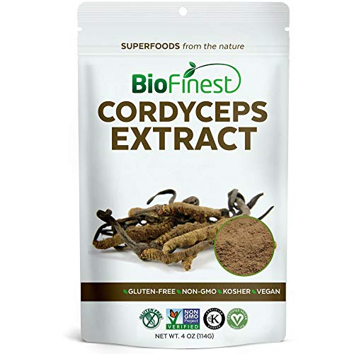 Biofinest Cordyceps Sinensis Mushroom Extract Powder - 100% Freeze-Dried Superfood - Vegan Raw Non-GMO - Boost Stamina Immunity - for Smoothie Beverage Blend (4 oz Resealable Bag)