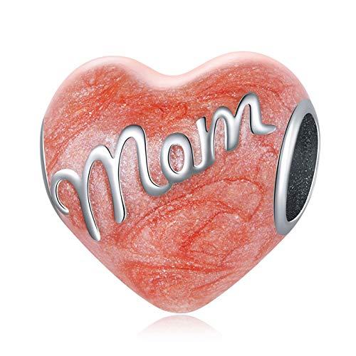 HMMJ S925 Sterling Silver Charms Beads, Pink Love DIY Hecho a Mano Cálido Día de la Madre Pendiente Compatible con Pandora Troll Chamilia Pulsera Europea Collares