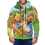 Anime Cartoon Winnie The Pooh Men's Hoodie with Zip Pocket Hoodies Casual Sports Coat Children's Print Coat M Black