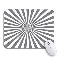 ECOMAOMI 可愛いマウスパッド シルバーサングレイ光線ラインスターバーストサンバーストバーストビームノンスリップラバーバッキングマウスパッドノートブックコンピュータマウスマット
