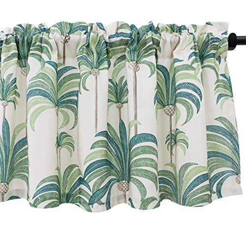 VOGOL Hood Leaves Print Kitchen Valances for Windows Linen Valances for Living Room Rod Pocket Valance Curtains 52 Inch Wide by 18 Inch Long, One Panel, Green