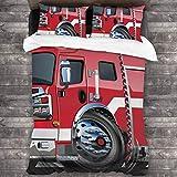 3 Piezas Juego Funda De Diseño Personalizado,Camión de bomberos grande con equipos de emergencia Equipo de rescate de,Ropa de Cama Set 1 Edredón 2 Fundas de Almohada Microfibra jueg(220*230cm)