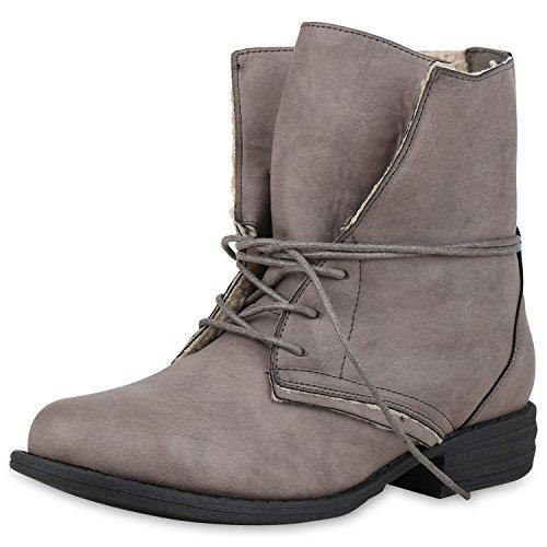SCARPE VITA Damen Schnürstiefeletten Warm Gefütterte Stiefeletten Winter Boots 165343 Grau Grau Warm Gefüttert 39