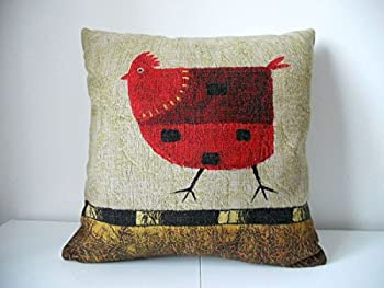 roming-shop 1 X Cotton Linen Square Decorative Throw Pillow Case Cushion Cover Green Background Red Chicken 18 X18