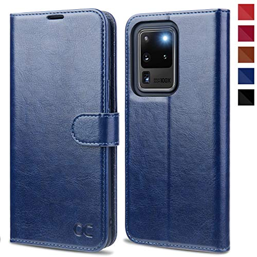 OCASE Samsung Galaxy S20 Ultra Hülle Handyhülle [Premium PU Leder] [Standfunktion] [Kartenfach] [Magnetverschluss] Tasche Cover Etui Schutzhülle lederhülle für Samsung Galaxy S20 Ultra Blau