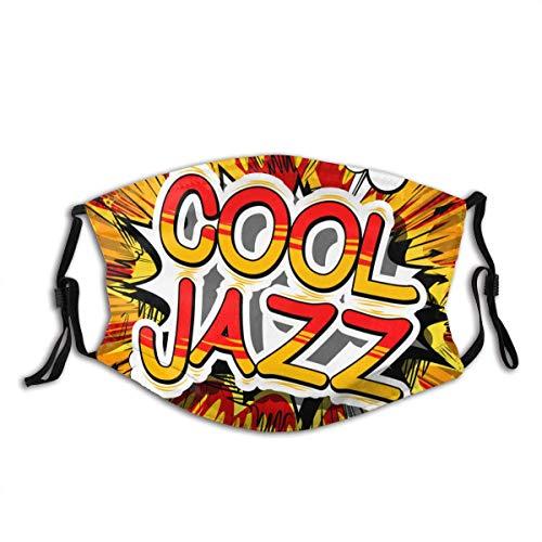 Cool-Jazz-Comic-Book-Word-on Unisex Waschbarer und wiederverwendbarer Gesichtsschal Gesichtsschutz für den Außenbereich