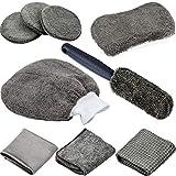 9 Piezas Set Limpieza Coche, Microfibra Limpieza Coche Herramientas para Limpiar Automóvil Interior y Exterior