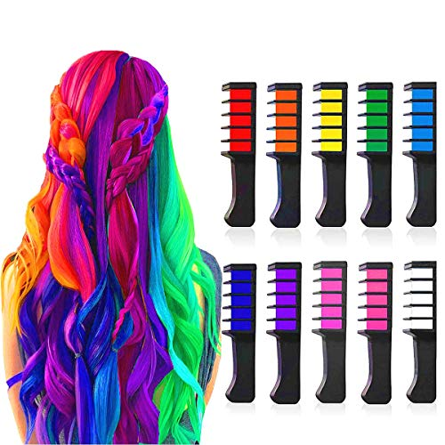 Price comparison product image Chnaivy Hair Chalk for Girls,  Temporary Bright Hair Chalk Comb Washable Hair Dye New Year Gifts for Girls Kids Party,  Cosplay,  Christmas and DIY,  10 Colors