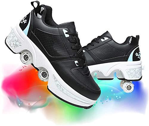 Zapatillas De Rodillo De Deformación De La Rueda Cuádruple Roller Skate Extraíble Multifuncional Multifuncional Automático De Deformación Deportivo Al Aire Libre,Black Blue,38