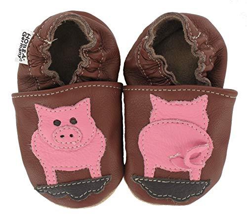 HOBEA-Germany Krabbelschuhe Babyschuhe mit Tieren, Schuhgröße:16/17 (0-6 Monate), Modell Schuhe:Schwein
