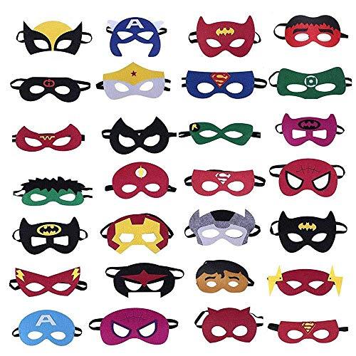 Camelize Superheld Masken,Superheld Party Masken,28 Stück Kinder Cosplay Masken für Geburtstagsfeier,Halloween, Cosplay von 3-Plus