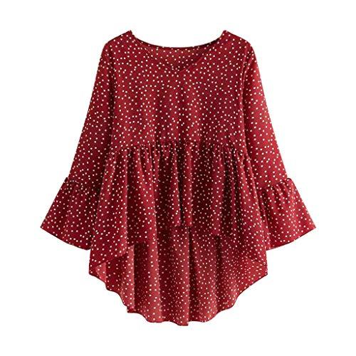 SANFASHION Damen Langarm Bluse Frauen Plus Size Rüschen mit V-Ausschnitt Polka Dot...