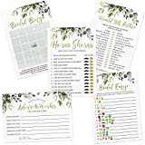 Bridal Shower Shower Game Set, 5 Games, 250 Sheets, Eucalyptus Greenery Theme, Bridal Bingo, Emoji Pictionary, Advice and Well Wishes, He Said She Said, Would She Rather