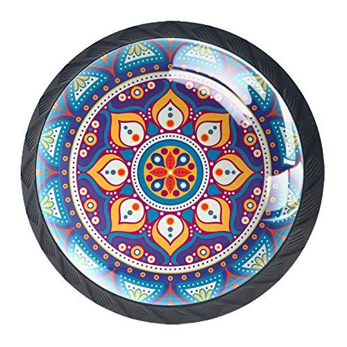 YATELI Mandala Boho Indio Vintage Colorido Perillas de extracción de para gabinetes,...