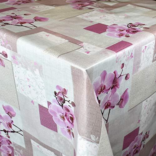 Kevkus Mantel de hule por metros, 160 A, orquídeas, patchwork, flores, verano, rectangular, ovalado, borde (ribete de gancho), 140 cm redondo