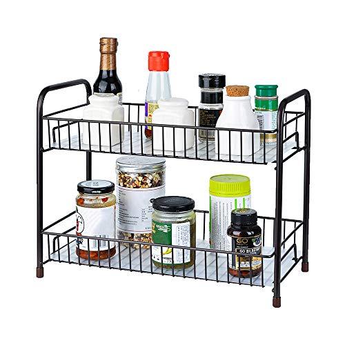 Spice Rack Organizer for Countertop 2 Tier Counter Shelf Standing Holder Storage for Kitchen CabinetBronze