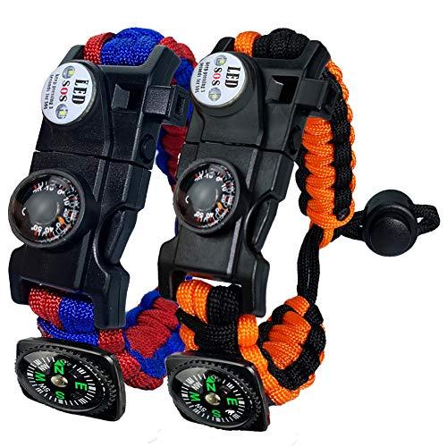 Paracord Survival Armband Kit für Herren Damen, Survival Armband mit Feuerstein + Kompass + Thermome (Rot und Blau + Orange)