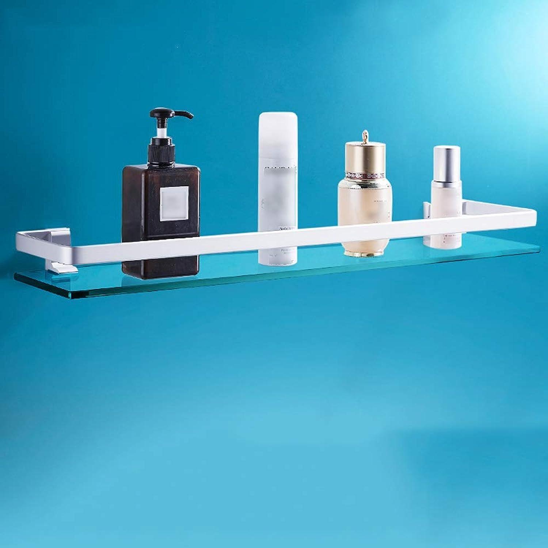 Bathroom Glass Shelf Bathroom Shelf, Space Aluminum Bathroom Tempered Glass Shelf Wall-Mounted Rectangular Polished Chrome Bracket Bathroom Shelves (Size   40cm 15.7inch)