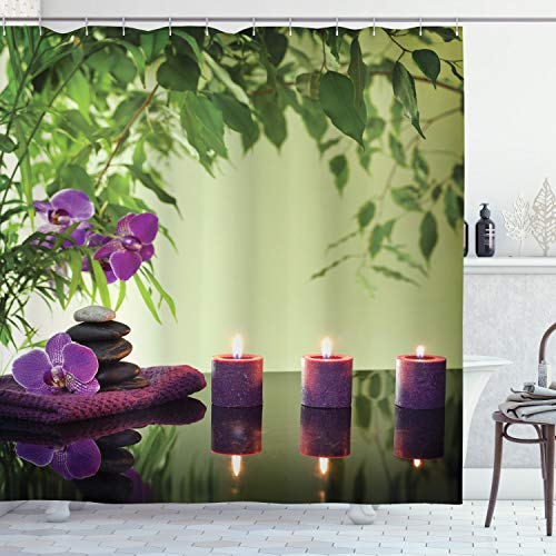 """Ambesonne Spa Shower Curtain, Stones Aromatic Candles and Orchids Blooms Treatment Vacation, Cloth Fabric Bathroom Decor Set with Hooks, 70"""" Long, Pale Green Fern Green"""