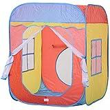 HOMCOM Kinderspielhaus, Spielzelt im Hausmuster, 2 Meshtüren und -fenster, Selbstaufstellen,...