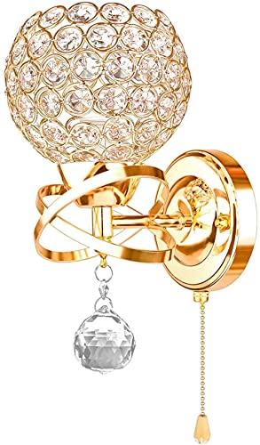 MWKL Lámpara de Pared de Aplique de Cristal Moderno con Interruptor de Tiro, lámpara de Pared de Acero Retro nórdica para Pasillo de la Sala de Estar Junto a la Cama, Enchufe E14