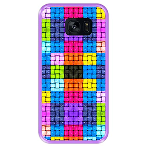 Hapdey Funda Morada para [ Samsung Galaxy S7 Edge ] diseño [ Cuadrados de Colores con Gotas de Agua ] Carcasa Silicona Flexible TPU