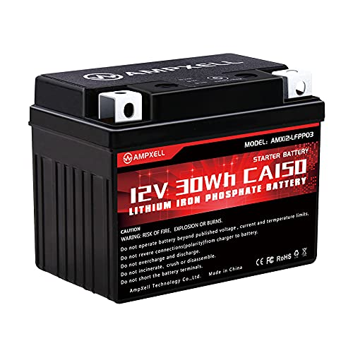 AMPXELL Lithium Ion Motorcycle Powersports Battery 12V CCA150 Replacement for YTX4L-BS, YTX5L-BS and YTX7L-BS,YTZ7S Honda Kawasaki Suzuki Yamaha Motorcycle battery
