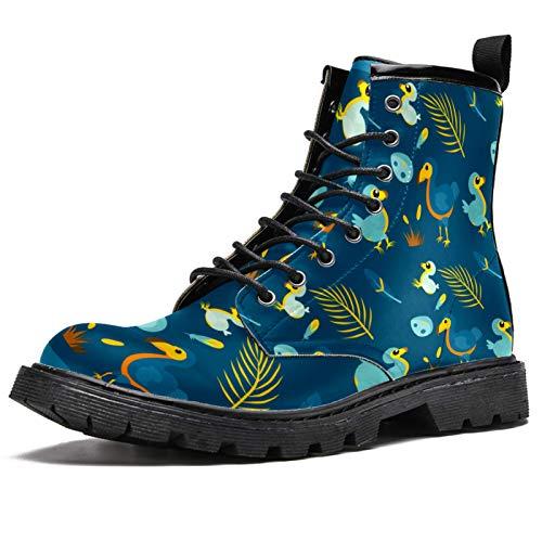 Lorvies Baby Vogel Dodo Cartoon Blau Niedliche Stiefel für Männer, Schnürschuhe aus Leder, - mehrfarbig - Größe: 41 EU