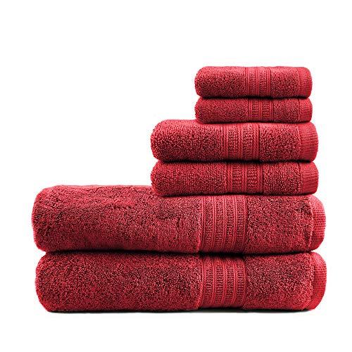 TRIDENT Bath Towel Set 100% Cotton Yarn 6 Piece Set-2 Large Bath Towels,2 Hand Towels,2 Washcloths 550GSM Bathroom Towels Soft...