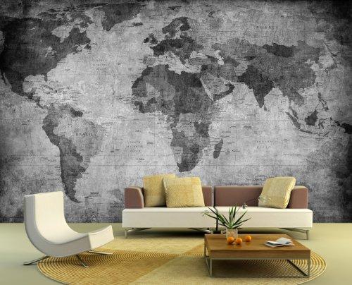 Bilderdepot24 Fotomural Mapamundi - Retro - Negro y Blanco 360x230 cm - Papel Tejido-no Tejido. Fotomurales - Papel Pintado - la fabricación Made in Germany!