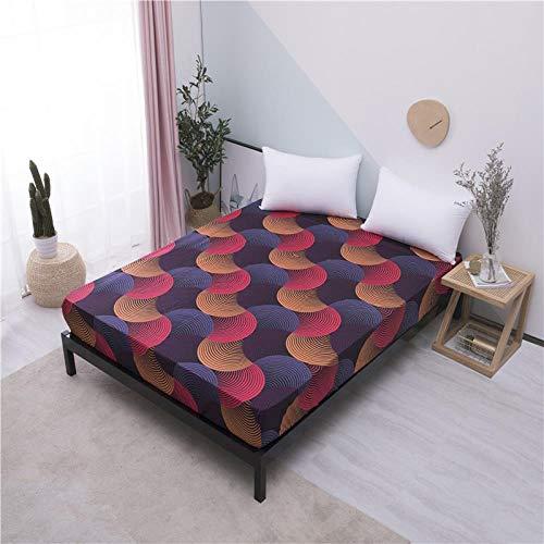 iMyoung Xuancai Spannbettlaken, bedrucktes Bettlaken mit Gummizug, für Doppelbett, Queen-Size-Größe, 160 x...