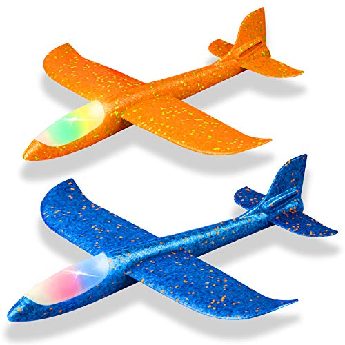 "2 Pack LED Light Airplane,17.5"" Large Throwing Foam Plane,2 Flight Mode Glider Plane,Flying Toy for Kids,Gifts for 3 4 5 6 7 Years Old Boy,Outdoor Sport Toys Birthday Party Favors Foam Airplane"